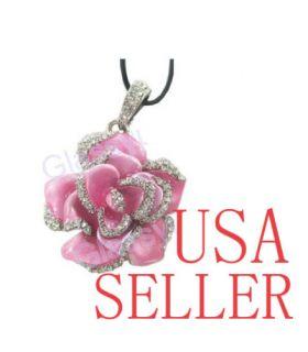 8GB Crystal Jewelry Pink Rose Pendant USB Flash Drive Memory