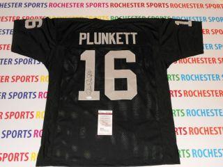 JIM PLUNKETT autographed signed Oakland Raiders black Jersey JSA#