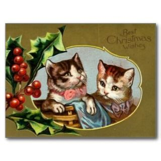Vintage Cats Christmas Postcard