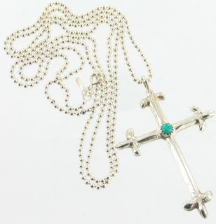 Vintage Sterling Silver Persian Turquoise Lge Cross 35 Beaded Chain