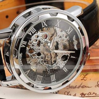 Transparent Mechanical Stainless Steel Case Classic Wrist Watch