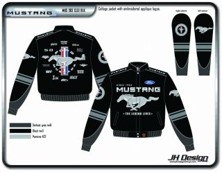 NASCAR Jackets Ford Mustang Collage Mens Black Jacket JH Design MUS303