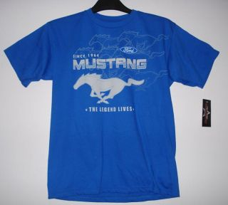 XL JH Design Ford Mustang Blue Racing Screen Printed T Shirt XL