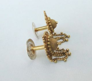 Vintage Antique Solid 22 Carat Gold Jewelry Stud Earring Pair