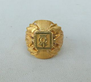 Vintage Antique Solid 22 Carat Old Gold Ring from Rajasthan India