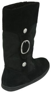 Coach Meyer Signature and Suede Boots Black Shoes 7 New