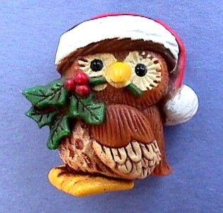 Hallmark Pin Christmas Holiday Owl Big Eyes Vtg Xmas Jewelry Vintage