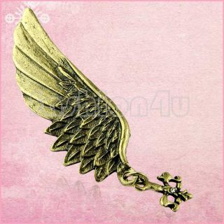 Vintage Style Unisex Bronze Angel Wing Brooch Pins Badge