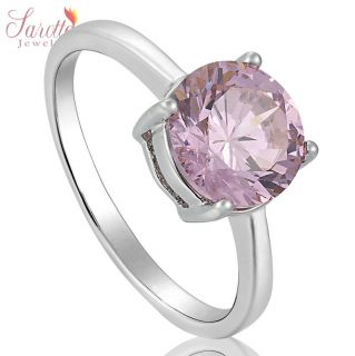 SAROTTA JEWELRY GIFT PINK SAPPHIRE 18K WHITE GOLD GP LADIES RING GIFT