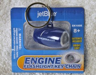 Jet Blue Collectible Jet Engine Flashlight Keychain EK1008 Ships Free