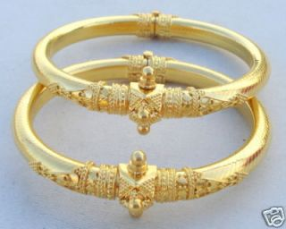 Vintage Antique Solid 22 Carat Gold Bracelet Bangle Pair Rajasthan