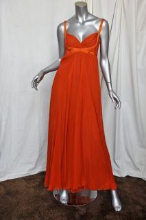 Max Mara Tangerine Silk Chiffon Long Goddess Gown Formal Evening Dress