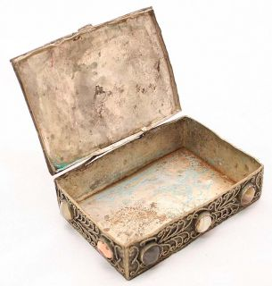 Antique Silver Plated Filigree Jewelry Box Case 1930c