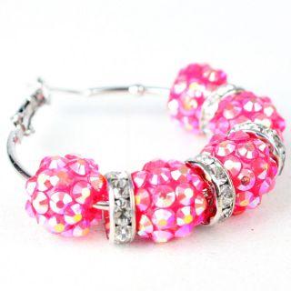 Rhinestone Beads Medium Hoop Pink Fashion Earrings Jewelry