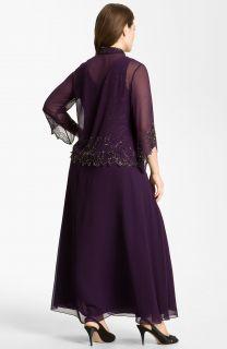 Kara Sheer Beaded Chiffon Gown Jacket Plus 22W
