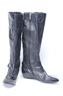 Circa Joan David 10 M Black Yvet Knee High Boot Leather Wedge Heel