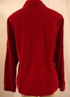 Sz L J Jill Dark Red Corduroy Cotton Blouse Long Sleeve Shirt Top