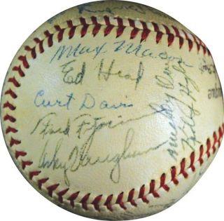 Dodgers Team Signed Ball Arky Vaughn Joe Medwick Pee Wee Reese JSA