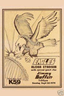 The Eagles Jimmy Buffett Hawaii Concert Poster 1979