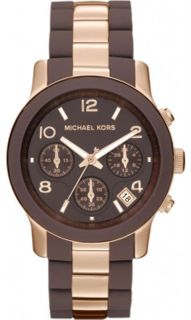 New Michael Kors Ladies MK5658 Brown Silicone Wrapped Chrono Watch