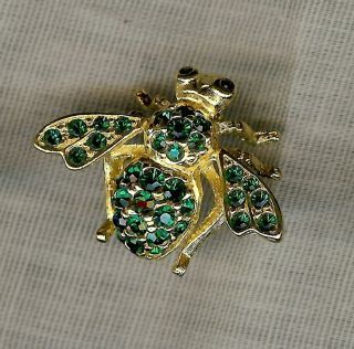 Joan Rivers Bee Pin Goldtone with Emerald Green Crystals and Black