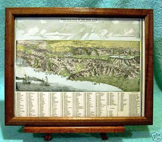 Antique Framed Map of Holy Land Bires Eye View 1900