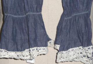 LOGG H M Dusty Denim Blue Crinkle Cotton Ivory Lace Scarf Wrap Shawl