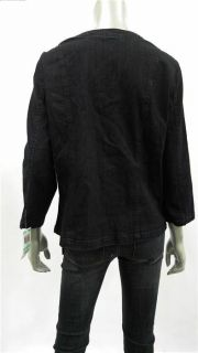 JM Collection Womens Misses Beaded Jean Jacket Sz 8 Dark Denim Coat