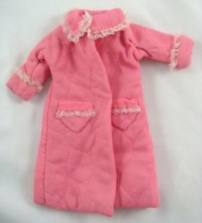 Vintage 1960s Barbie Fashion Doll Pink Quilted White Lace Bathrobe