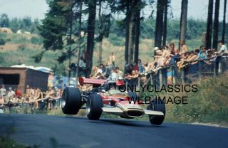1969 Jochen Rindt Lotus Car Fly in Air Grand Prix Formula One Auto
