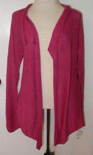 Joan Vass Raspberry Linen Cotton Cardigan Sz 2 $198