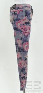 Joes Jeans Grey Pink Printed Skinny Jeans Size 30