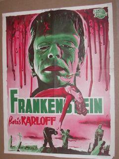 Frankenstein Boris Karloff 50s Belgian Poster Must See