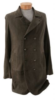 JOHN VARVATOS Oxide Suede Double Breasted Jacket LEATHER Mens 38 US