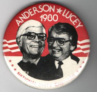 John Anderson Lucey Jugate 80 Pinback Button 3rd Party