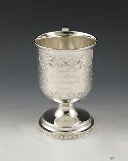 Fine Antique 1834 John B Jones Coin Silver Cup Mug