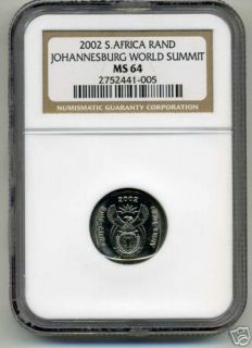 NGC MS 64 South Africa 2000 R1 Johannesburg Summit Coin
