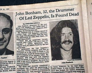John Bonham LED Zeppelin Drummer Death 1st Report 1980 New York Times