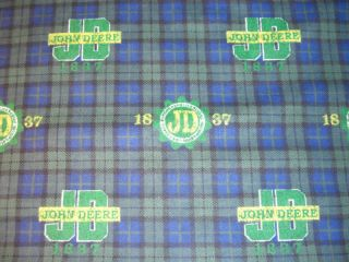 John Deere Tractor Blue College Plaid Cotton Flannel Fabric BTshort YD