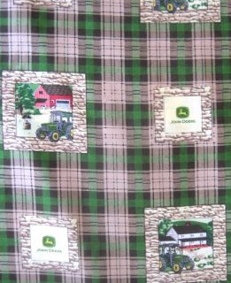 John Deere Farm Patch Rock Wall Tractor Toss 100% Cotton Quilt Fabric