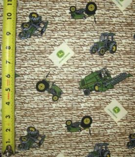 John Deere Farm Tractor Toss on Rock Wall 100% Cotton Quilt Fabric BTY