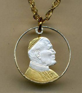 Gold Silver Cut Coin Pope John Paul II Bust Pendant