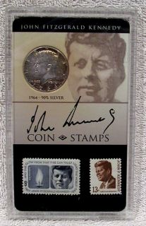 John F. Kennedy Commemorative   Coin & Stamp   1964 Half Dollar   90%