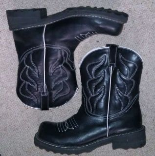 John Fluevog Cowboy Low Black Leather Boots 10