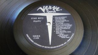 Vinyl Jazz Album Stan Getz Stan Getz Plays on Verve MG V8133 Hi Fi LP