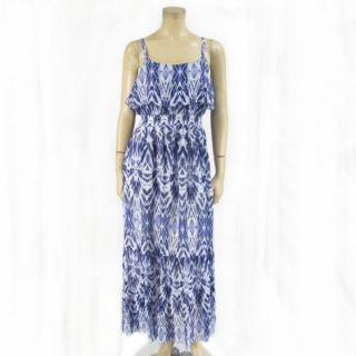 John Paul Richards Maxi Dress Ruffle Sleeveless Blue Tie Dye Long Full