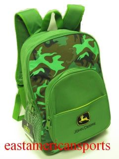 John Deere Camouflage Back Pack Green Camo School Book Bag Travel