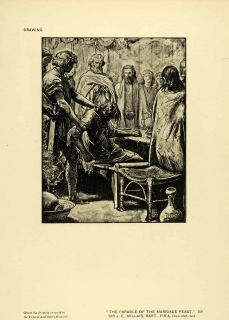 1917 Print Sir John Everett Millais Art Parable Marriage Feast Jesus