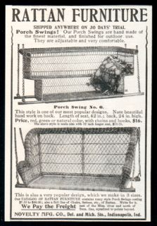 Rattan Furniture Porch Swings 1905 Antique AD Chairs Setees Novelty Mfg Indiana