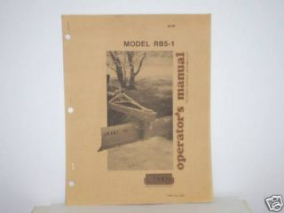 Woods Back Blade Model RB5 1 Operators Service Manual